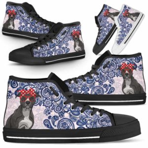 HTS-W-Dog-BluePaisley-Pit_Bull-41@ Blue Paisley Pit Bull 41-Pit Bull Dog Lovers Blue Paisley High Top Shoes Gift Men Women. Dog Mom Dog Dad Custom Shoes.