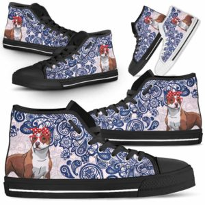 HTS-W-Dog-BluePaisley-Pit_Bull-42@ Blue Paisley Pit Bull 42-Pit Bull Dog Lovers Blue Paisley High Top Shoes Gift Men Women. Dog Mom Dog Dad Custom Shoes.