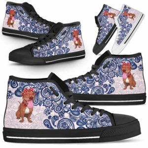 HTS-W-Dog-BluePaisley-Pit_Bull-43@ Blue Paisley Pit Bull 43-Pit Bull Dog Lovers Blue Paisley High Top Shoes Gift Men Women. Dog Mom Dog Dad Custom Shoes.