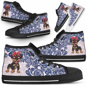HTS-W-Dog-BluePaisley-Rottweiler-56@ Blue Paisley Rottweiler 56-Rottweiler Dog Lovers Blue Paisley High Top Shoes Gift Men Women. Dog Mom Dog Dad Custom Shoes.
