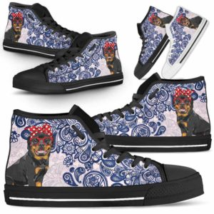 HTS-W-Dog-BluePaisley-Rottweiler-57@ Blue Paisley Rottweiler 57-Rottweiler Dog Lovers Blue Paisley High Top Shoes Gift Men Women. Dog Mom Dog Dad Custom Shoes.