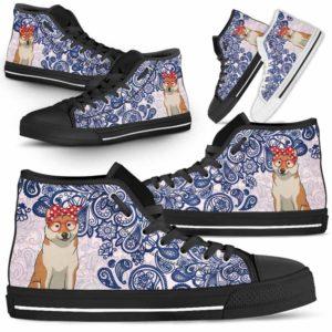 HTS-W-Dog-BluePaisley-Shiba_Inu-60@ Blue Paisley Shiba Inu 60-Shiba Inu Dog Lovers Blue Paisley High Top Shoes Gift Men Women. Dog Mom Dog Dad Custom Shoes.