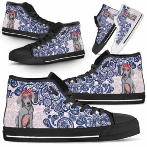 HTS-W-Dog-BluePaisley-Weimaraner-61@ Blue Paisley Weimaraner 61-Weimaraner Dog Lovers Blue Paisley High Top Shoes Gift Men Women. Dog Mom Dog Dad Custom Shoes.