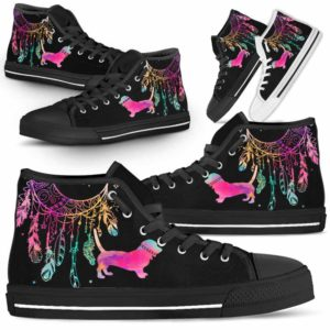 HTS-W-Dog-ColorfulDreamcatcher-Basset_Hound-1@ Colorful Dreamcatcher Basset Hound 1-Basset Hound Dog Lovers High Top Shoes Gift Men Women. Colorful Dreamcatcher Custom Shoes.