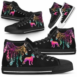 HTS-W-Dog-ColorfulDreamcatcher-Boston_Terrier-3@ Colorful Dreamcatcher Boston Terrier 3-Boston Terrier Dog Lovers High Top Shoes Gift Men Women. Colorful Dreamcatcher Custom Shoes.