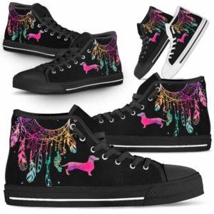HTS-W-Dog-ColorfulDreamcatcher-Dachshund-9@ Colorful Dreamcatcher Dachshund 9-Dachshund Dog Lovers High Top Shoes Gift Men Women. Colorful Dreamcatcher Custom Shoes.