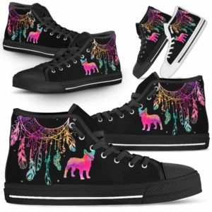 HTS-W-Dog-ColorfulDreamcatcher-Frenchie-11@ Colorful Dreamcatcher Frenchie 11-Frenchie Dog Lovers High Top Shoes Gift Men Women. Colorful Dreamcatcher Custom Shoes.
