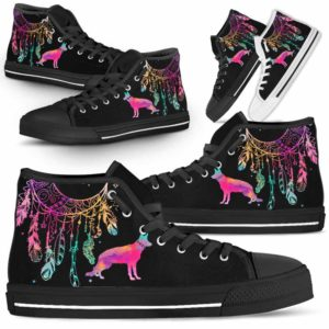 HTS-W-Dog-ColorfulDreamcatcher-German_Shepherd-12@ Colorful Dreamcatcher German Shepherd 12-German Shepherd Dog Lovers High Top Shoes Gift Men Women. Colorful Dreamcatcher Custom Shoes.