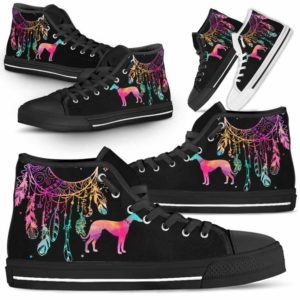 HTS-W-Dog-ColorfulDreamcatcher-Greyhound-13@ Colorful Dreamcatcher Greyhound 13-Greyhound Dog Lovers High Top Shoes Gift Men Women. Colorful Dreamcatcher Custom Shoes.