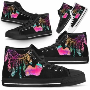 HTS-W-Dog-ColorfulDreamcatcher-Havanese-14@ Colorful Dreamcatcher Havanese 14-Havanese Dog Lovers High Top Shoes Gift Men Women. Colorful Dreamcatcher Custom Shoes.