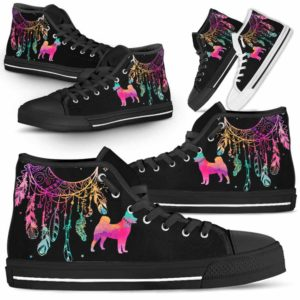 HTS-W-Dog-ColorfulDreamcatcher-Shiba_inu-22@ Colorful Dreamcatcher Shiba inu 22-Shiba Inu Dog Lovers High Top Shoes Gift Men Women. Colorful Dreamcatcher Custom Shoes.