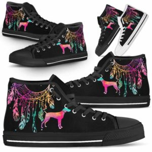 HTS-W-Dog-ColorfulDreamcatcher-Weimaraner-23@ Colorful Dreamcatcher Weimaraner 23-Weimaraner Dog Lovers High Top Shoes Gift Men Women. Colorful Dreamcatcher Custom Shoes.