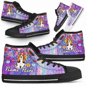 HTS-W-Dog-ColorfulFlower-Basset_Hound-3@ Coloful Flower Basset Hound 3-Basset Hound Dog Lovers High Top Shoes Gift Dog Mom Dog Dad Men Women. Colorful Flower Custom Shoes.