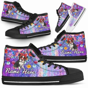 HTS-W-Dog-ColorfulFlower-Boston_Terrier-6@ Coloful Flower Boston Terrier 6-Boston Terrier Dog Lovers High Top Shoes Gift Dog Mom Dog Dad Men Women. Colorful Flower Custom Shoes.
