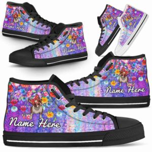 HTS-W-Dog-ColorfulFlower-Boston_Terrier-7@ Coloful Flower Boston Terrier 7-Boston Terrier Dog Lovers High Top Shoes Gift Dog Mom Dog Dad Men Women. Colorful Flower Custom Shoes.