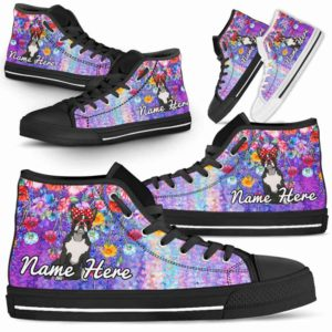 HTS-W-Dog-ColorfulFlower-Boston_Terrier-8@ Coloful Flower Boston Terrier 8-Boston Terrier Dog Lovers High Top Shoes Gift Dog Mom Dog Dad Men Women. Colorful Flower Custom Shoes.