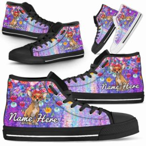 HTS-W-Dog-ColorfulFlower-Chihuahua-16@ Coloful Flower Chihuahua 16-Chihuahua Dog Lovers High Top Shoes Gift Dog Mom Dog Dad Men Women. Colorful Flower Custom Shoes.