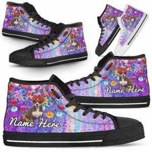 HTS-W-Dog-ColorfulFlower-Chihuahua-17@ Coloful Flower Chihuahua 17-Chihuahua Dog Lovers High Top Shoes Gift Dog Mom Dog Dad Men Women. Colorful Flower Custom Shoes.