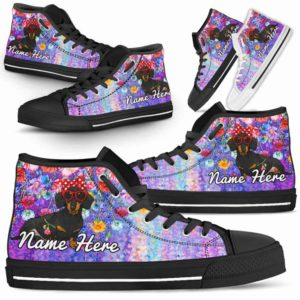 HTS-W-Dog-ColorfulFlower-Dachshund-19@ Coloful Flower Dachshund 19-Dachshund Dog Lovers High Top Shoes Gift Dog Mom Dog Dad Men Women. Colorful Flower Custom Shoes.