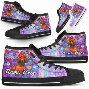 HTS-W-Dog-ColorfulFlower-Dachshund-20@ Coloful Flower Dachshund 20-Dachshund Dog Lovers High Top Shoes Gift Dog Mom Dog Dad Men Women. Colorful Flower Custom Shoes.