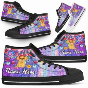 HTS-W-Dog-ColorfulFlower-Havanese-33@ Coloful Flower Havanese 33-Havanese Dog Lovers High Top Shoes Gift Dog Mom Dog Dad Men Women. Colorful Flower Custom Shoes.