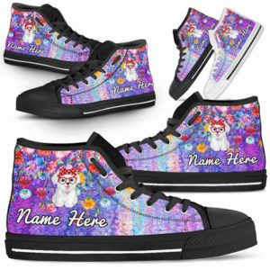 HTS-W-Dog-ColorfulFlower-Havanese-34@ Coloful Flower Havanese 34-Havanese Dog Lovers High Top Shoes Gift Dog Mom Dog Dad Men Women. Colorful Flower Custom Shoes.