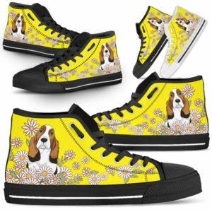 HTS-W-Dog-DaisyLine-Basset_Hound-3@ Daisy Line Basset Hound 3-Basset Hound Dog Lovers Daisy Line High Top Shoes Gift Men Women. Dog Mom Dog Dad Custom Shoes.