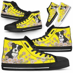HTS-W-Dog-DaisyLine-Boston_Terrier-6@ Daisy Line Boston Terrier 6-Boston Terrier Dog Lovers Daisy Line High Top Shoes Gift Men Women. Dog Mom Dog Dad Custom Shoes.