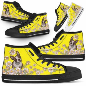 HTS-W-Dog-DaisyLine-Boston_Terrier-7@ Daisy Line Boston Terrier 7-Boston Terrier Dog Lovers Daisy Line High Top Shoes Gift Men Women. Dog Mom Dog Dad Custom Shoes.