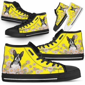HTS-W-Dog-DaisyLine-Boston_Terrier-8@ Daisy Line Boston Terrier 8-Boston Terrier Dog Lovers Daisy Line High Top Shoes Gift Men Women. Dog Mom Dog Dad Custom Shoes.