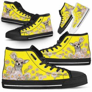 HTS-W-Dog-DaisyLine-Chihuahua-15@ Daisy Line Chihuahua 15-Chihuahua Dog Lovers Daisy Line High Top Shoes Gift Men Women. Dog Mom Dog Dad Custom Shoes.