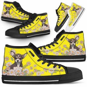 HTS-W-Dog-DaisyLine-Chihuahua-17@ Daisy Line Chihuahua 17-Chihuahua Dog Lovers Daisy Line High Top Shoes Gift Men Women. Dog Mom Dog Dad Custom Shoes.