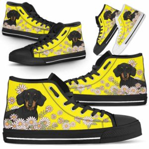HTS-W-Dog-DaisyLine-Dachshund-19@ Daisy Line Dachshund 19-Dachshund Dog Lovers Daisy Line High Top Shoes Gift Men Women. Dog Mom Dog Dad Custom Shoes.