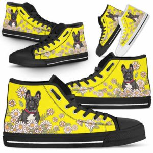 HTS-W-Dog-DaisyLine-Frenchie-27@ Daisy Line Frenchie 27-Frenchie Dog Lovers Daisy Line High Top Shoes Gift Men Women. Dog Mom Dog Dad Custom Shoes.