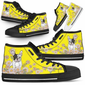 HTS-W-Dog-DaisyLine-Frenchie-28@ Daisy Line Frenchie 28-Frenchie Dog Lovers Daisy Line High Top Shoes Gift Men Women. Dog Mom Dog Dad Custom Shoes.