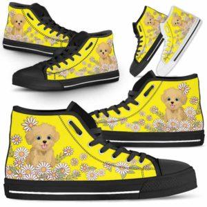 HTS-W-Dog-DaisyLine-Havanese-33@ Daisy Line Havanese 33-Havanese Dog Lovers Daisy Line High Top Shoes Gift Men Women. Dog Mom Dog Dad Custom Shoes.