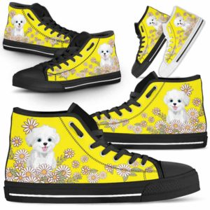 HTS-W-Dog-DaisyLine-Havanese-34@ Daisy Line Havanese 34-Havanese Dog Lovers Daisy Line High Top Shoes Gift Men Women. Dog Mom Dog Dad Custom Shoes.