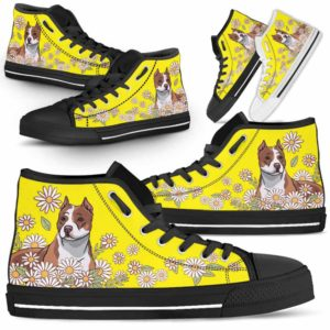 HTS-W-Dog-DaisyLine-Pit_Bull-42@ Daisy Line Pit Bull 42-Pit Bull Dog Lovers Daisy Line High Top Shoes Gift Men Women. Dog Mom Dog Dad Custom Shoes.