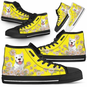 HTS-W-Dog-DaisyLine-Pit_Bull-44@ Daisy Line Pit Bull 44-Pit Bull Dog Lovers Daisy Line High Top Shoes Gift Men Women. Dog Mom Dog Dad Custom Shoes.