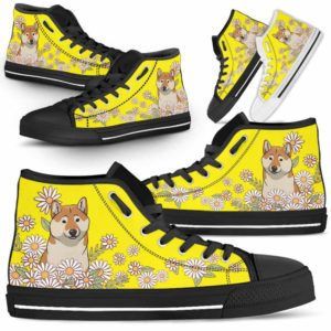 HTS-W-Dog-DaisyLine-Shiba_Inu-60@ Daisy Line Shiba Inu 60-Shiba Inu Dog Lovers Daisy Line High Top Shoes Gift Men Women. Dog Mom Dog Dad Custom Shoes.