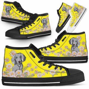 HTS-W-Dog-DaisyLine-Weimaraner-61@ Daisy Line Weimaraner 61-Weimaraner Dog Lovers Daisy Line High Top Shoes Gift Men Women. Dog Mom Dog Dad Custom Shoes.