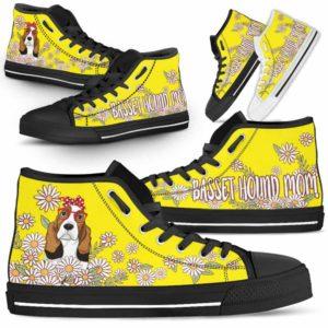 HTS-W-Dog-DogMomDaisyLine-Basset_Hound-3@ Dog Mom Daisy Line Basset Hound 3-Basset Hound Mom Dog Lovers Daisy Line High Top Shoes Gift For Women. Dog Mom Flower Custom Shoes.