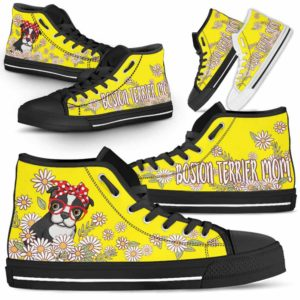 HTS-W-Dog-DogMomDaisyLine-Boston_Terrier-6@ Dog Mom Daisy Line Boston Terrier 6-Boston Terrier Mom Dog Lovers Daisy Line High Top Shoes Gift For Women. Dog Mom Flower Custom Shoes.