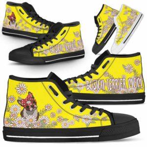 HTS-W-Dog-DogMomDaisyLine-Boston_Terrier-7@ Dog Mom Daisy Line Boston Terrier 7-Boston Terrier Mom Dog Lovers Daisy Line High Top Shoes Gift For Women. Dog Mom Flower Custom Shoes.