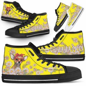 HTS-W-Dog-DogMomDaisyLine-Chihuahua-16@ Dog Mom Daisy Line Chihuahua 16-Chihuahua Mom Dog Lovers Daisy Line High Top Shoes Gift For Women. Dog Mom Flower Custom Shoes.