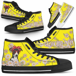 HTS-W-Dog-DogMomDaisyLine-Greyhound-32@ Dog Mom Daisy Line Greyhound 32-Greyhound Mom Dog Lovers Daisy Line High Top Shoes Gift For Women. Dog Mom Flower Custom Shoes.