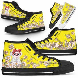 HTS-W-Dog-DogMomDaisyLine-Havanese-34@ Dog Mom Daisy Line Havanese 34-Havanese Mom Dog Lovers Daisy Line High Top Shoes Gift For Women. Dog Mom Flower Custom Shoes.