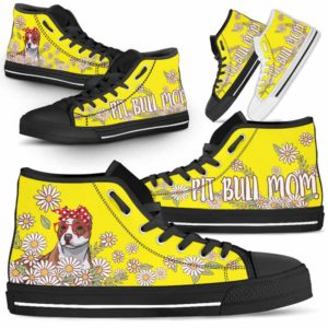 HTS-W-Dog-DogMomDaisyLine-Pit_Bull-42@ Dog Mom Daisy Line Pit Bull 42-Pit Bull Mom Dog Lovers Daisy Line High Top Shoes Gift For Women. Dog Mom Flower Custom Shoes.