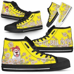 HTS-W-Dog-DogMomDaisyLine-Pit_Bull-44@ Dog Mom Daisy Line Pit Bull 44-Pit Bull Mom Dog Lovers Daisy Line High Top Shoes Gift For Women. Dog Mom Flower Custom Shoes.