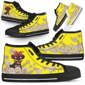 HTS-W-Dog-DogMomDaisyLine-Rottweiler-56@ Dog Mom Daisy Line Rottweiler 56-Rottweiler Mom Dog Lovers Daisy Line High Top Shoes Gift For Women. Dog Mom Flower Custom Shoes.